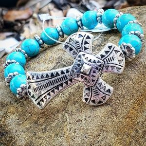 Turquoise Textured Cross Stretch Bracelet BNWT